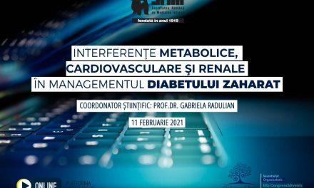 """Pe 11 februarie are loc webinarul cu tema """"Interferențe metabolice, cardiovasculare și renale în managementul diabetului zaharat"""""""