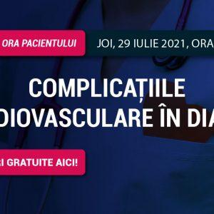 Ora Pacientului RoDiabet: Joi, 29 iulie, vorbim despre complicațiile cardiovasculare în diabet